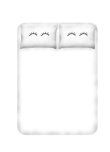 Enlora Home Enlora %100 Doğal Pamuk Çarşaf+Yastık Seti Çift Kişilik Eyelash  Beyaz